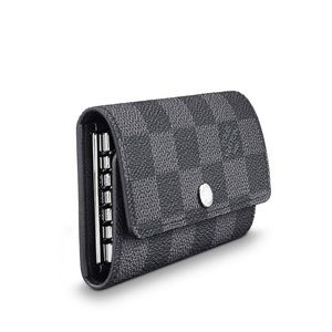 Louis Vuitton silver and grey checkered key holder